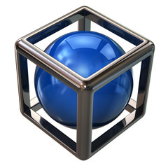 Blue sphere in abstract silver cube
