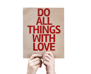 Do All Things With Love card isolated on white background