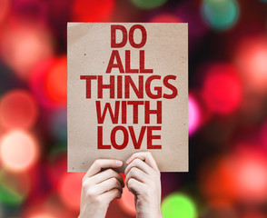Do All Things With Love card with colorful background
