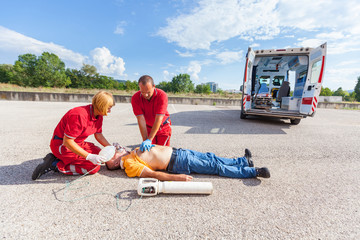 Rescue Team Providing First Aid