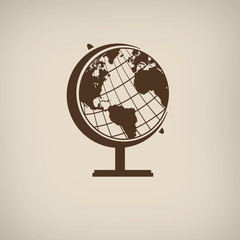 Earth globe icon on retro poster