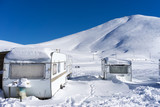 RVs covert in snow at Falakro, in Greece. poster
