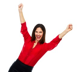 Happy cheerful business woman.
