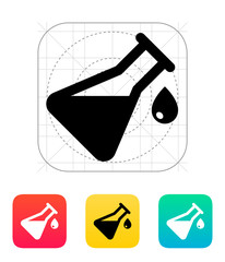 Drop from flask icon. Vector illustration.