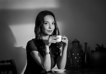 Black and white coffee girl.