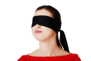 Blindfold woman with band on eyes