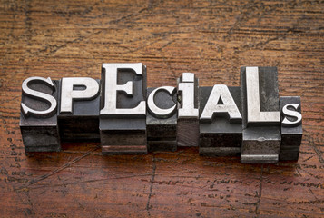 specials word in metal type