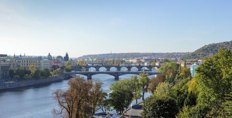 View of bridges on Vltava river, Prague, Czech Republic