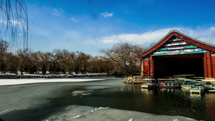 The boat dock in the Summer Palace at early spring