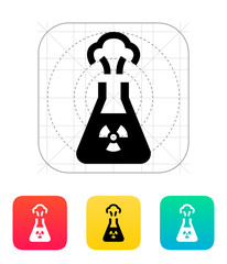 Flask with radiation icon. Vector illustration.