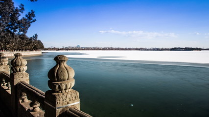 The snow and ice on Kunming Lake in the Summer  Palace, Beijing