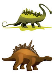 Two dinosaurs with buildings on neck