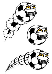 Flying cartooned soccer or football ball
