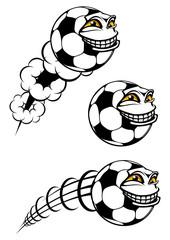 Flying cartooned soccer or football ball