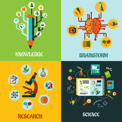 Research, science and brainstorm flat concepts
