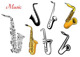 Cartoon saxophone music instruments