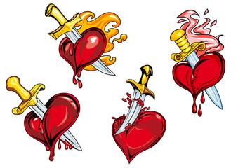 Bleeding hearts stabbed by daggers