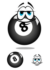 Smiling cartooned billiard ball