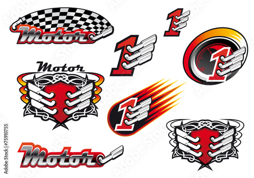 Racing and motocross emblems or symbols - 75910755
