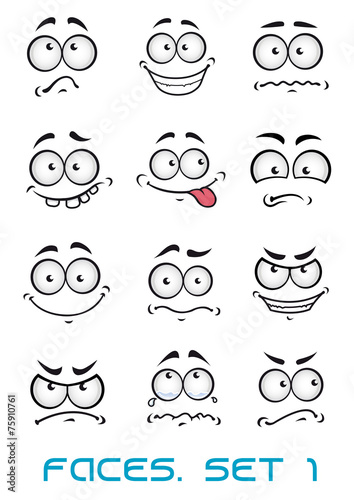 Cartoon faces with different emotions - 75910761