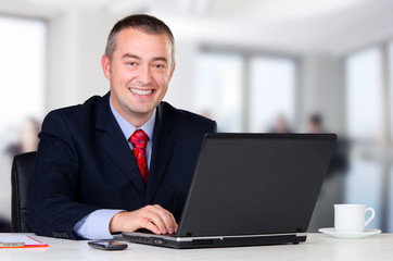 Young happy businessman working in his office
