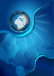 Abstract vector blue background with continents and globe