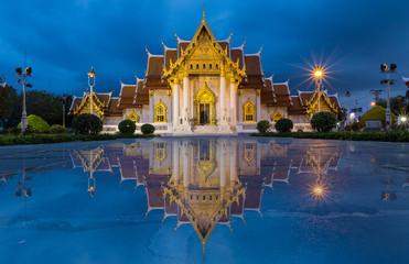 Beautiful Thai Temple, Marble Temple at twilight