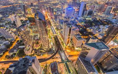 Aerial view building city center in Bangkok, Thailand