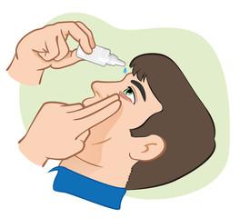 Medication eye drops to drip in irritated eyes.