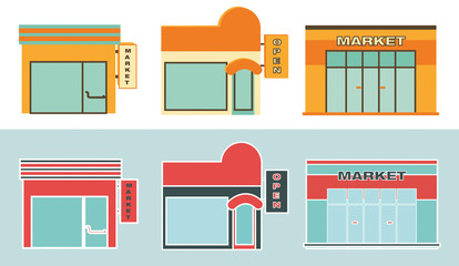 Retail. Flat icons of Retail buildings.