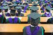 Shot of graduation caps during commencement.