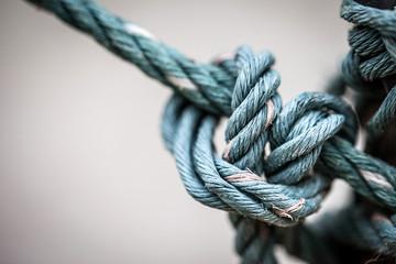 soft focus of tied vintage rope