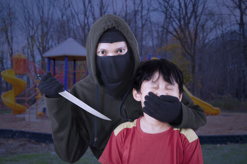 Child kidnapping by threatening