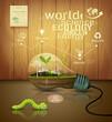 Light bulb ecology concept design on wood background