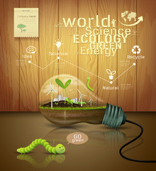 Light bulb ecology concept design on wood background
