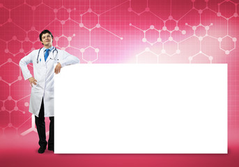 Doctor with banner