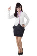Full length of businesswoman pointing an idea