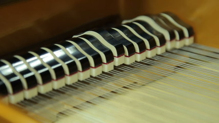 Work  hammers inside the grand piano with the lid open, close-up