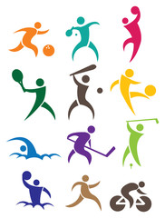 Sports vector icon set isolated on white background