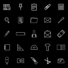 Stationery line icons on black background