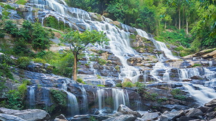 MAEYA Waterfall Famous Cascade Of Thailand (pan shot)