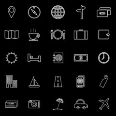 Travel line icons on black background