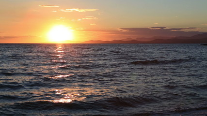 Beautiful sunset over Aegean sea.
