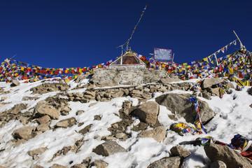 tibetan prayer flags at Khardung La Pass Ladakh