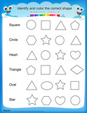 Identify and color the correct shape worksheet poster
