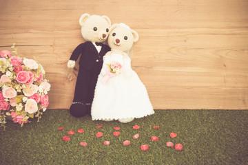 Romantic Bear on vintage retro color tone