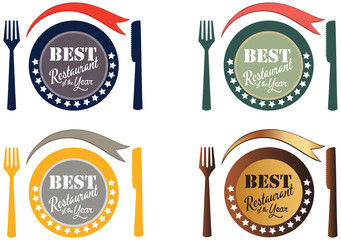Vector promo label of best restaurant award of the year.