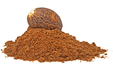 Nutmeg and its powder isolated on a white background
