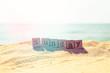 Sunday word on sea beach in retro style - 75916399