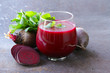 fresh beet juice with mint leaf in a glass - 75916959